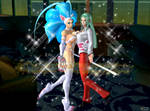 Felicia and Morrigan at the Nightclub