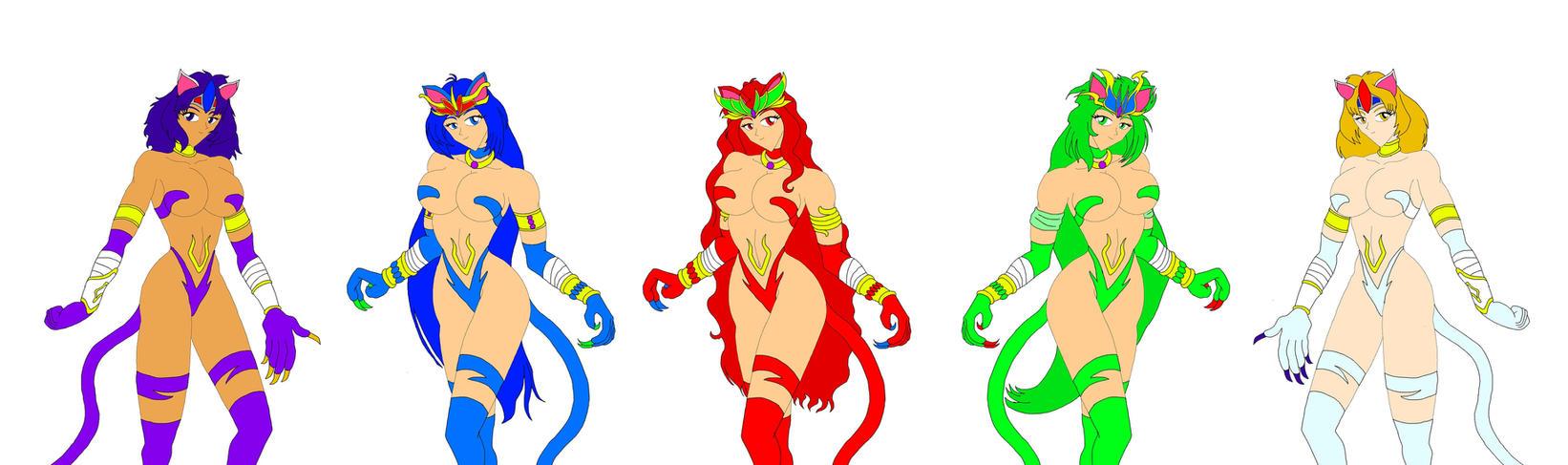 Capcom Cats: Elemental Shamans by NekoHybrid