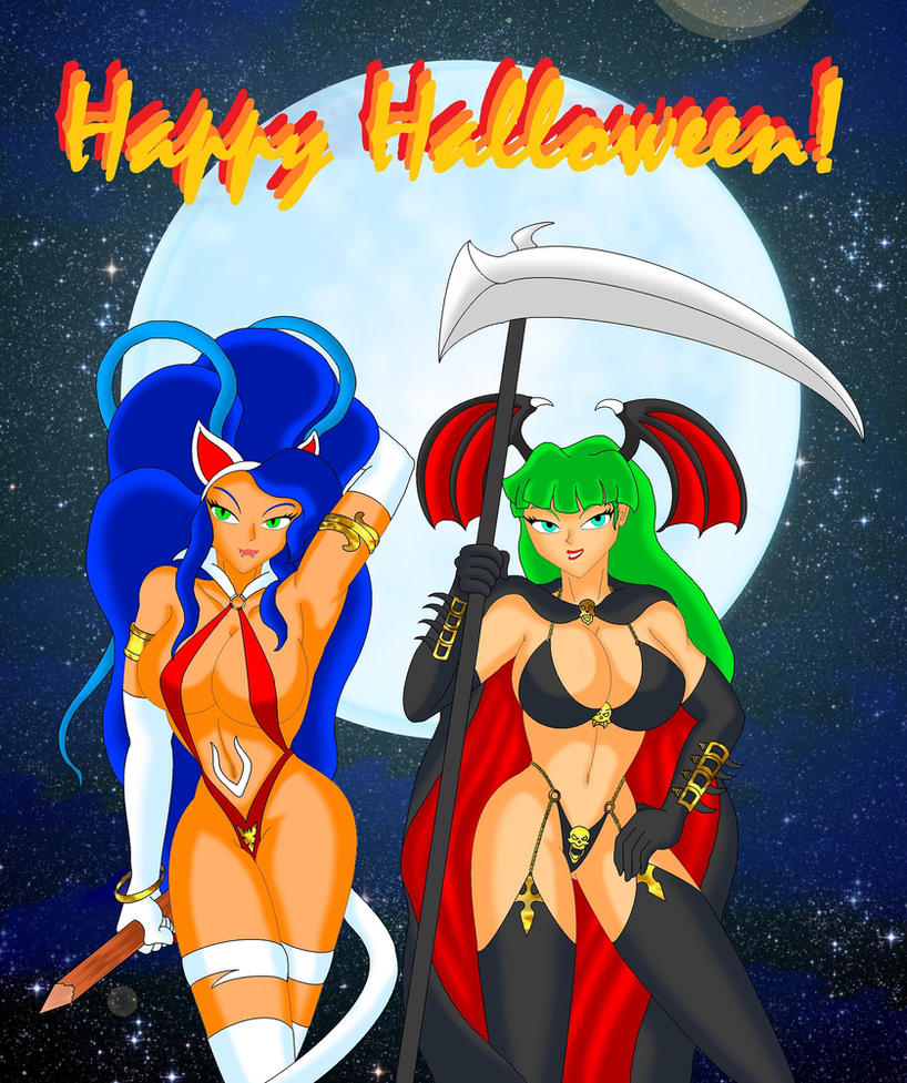Happy Halloween from Felicia and Morrigan by NekoHybrid
