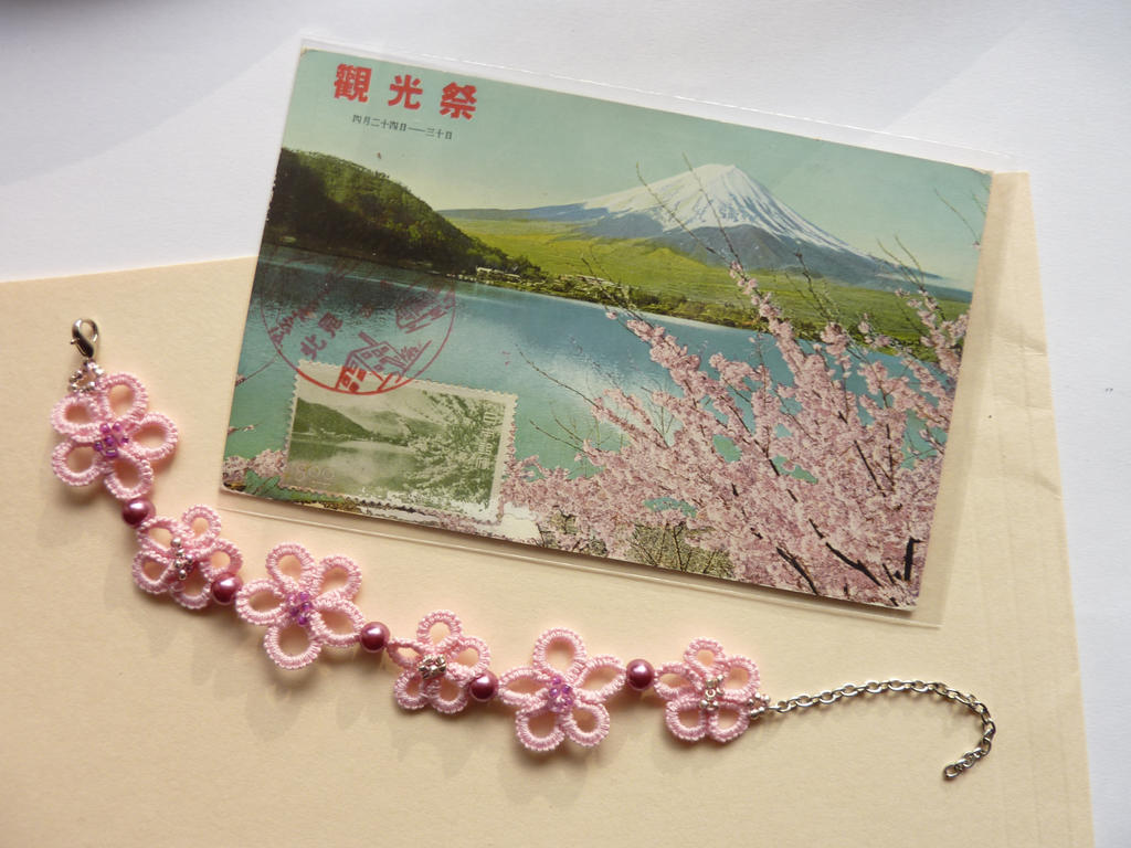 Sakura - cherry blossom handmade tatted bracelet by MJsFlowerfield