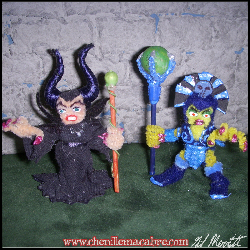 Maleficent and Evil-Lyn Chenille Stem Miniatures by the-gil-monster