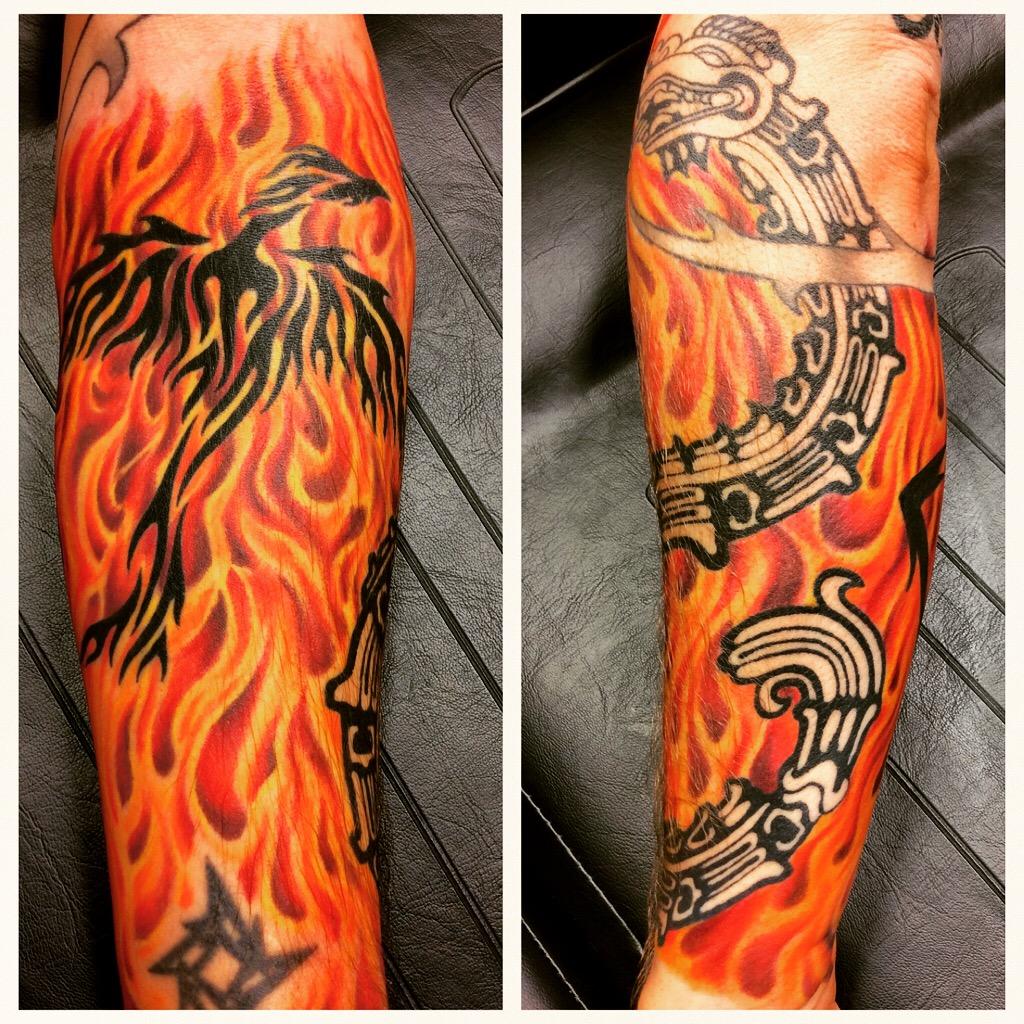 Fire phoenix tattoo sleeve by inkcaptain on deviantart for Aztec tattoo shop phoenix az
