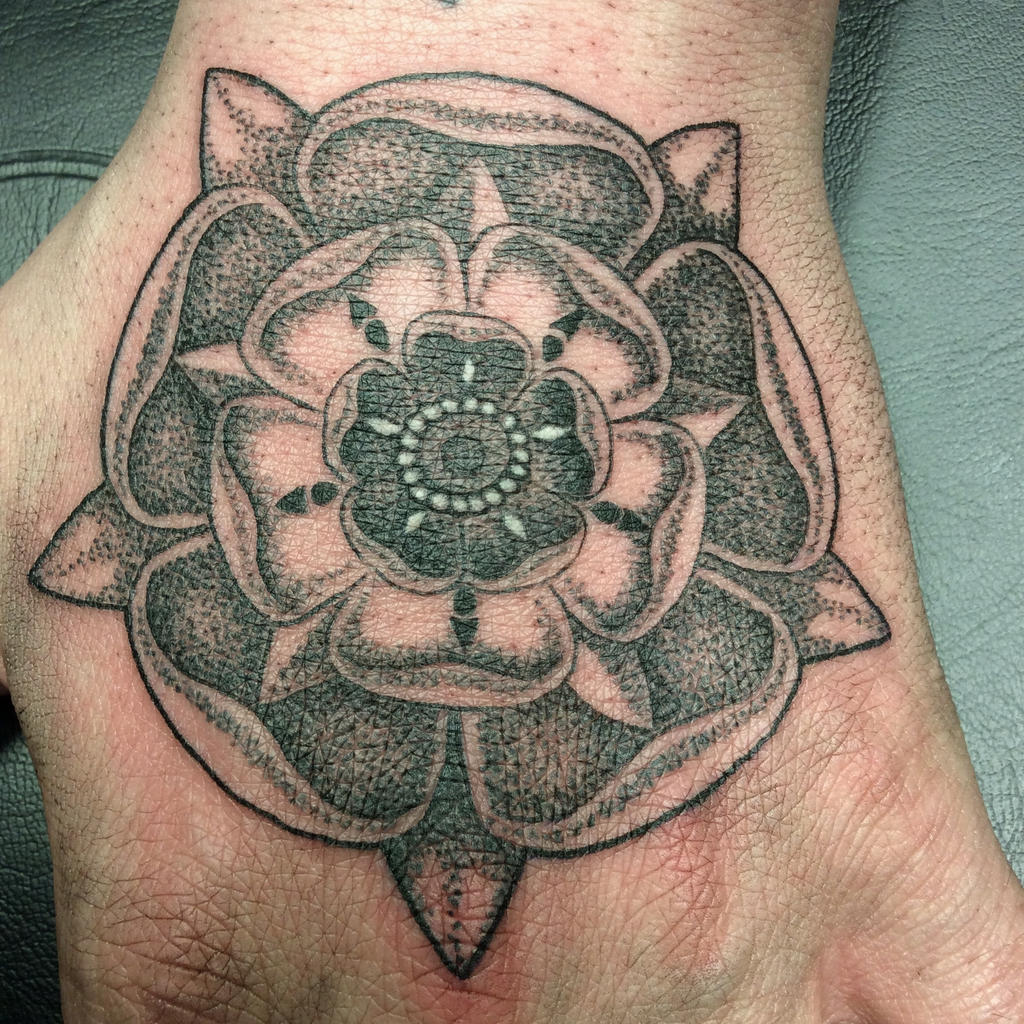 Dotwork Tudor rose tattoo on top of hand by InkCaptain on DeviantArt
