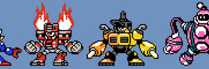 Mega Man 11 Robot Masters in 8-Bit Style by AlmKornKid