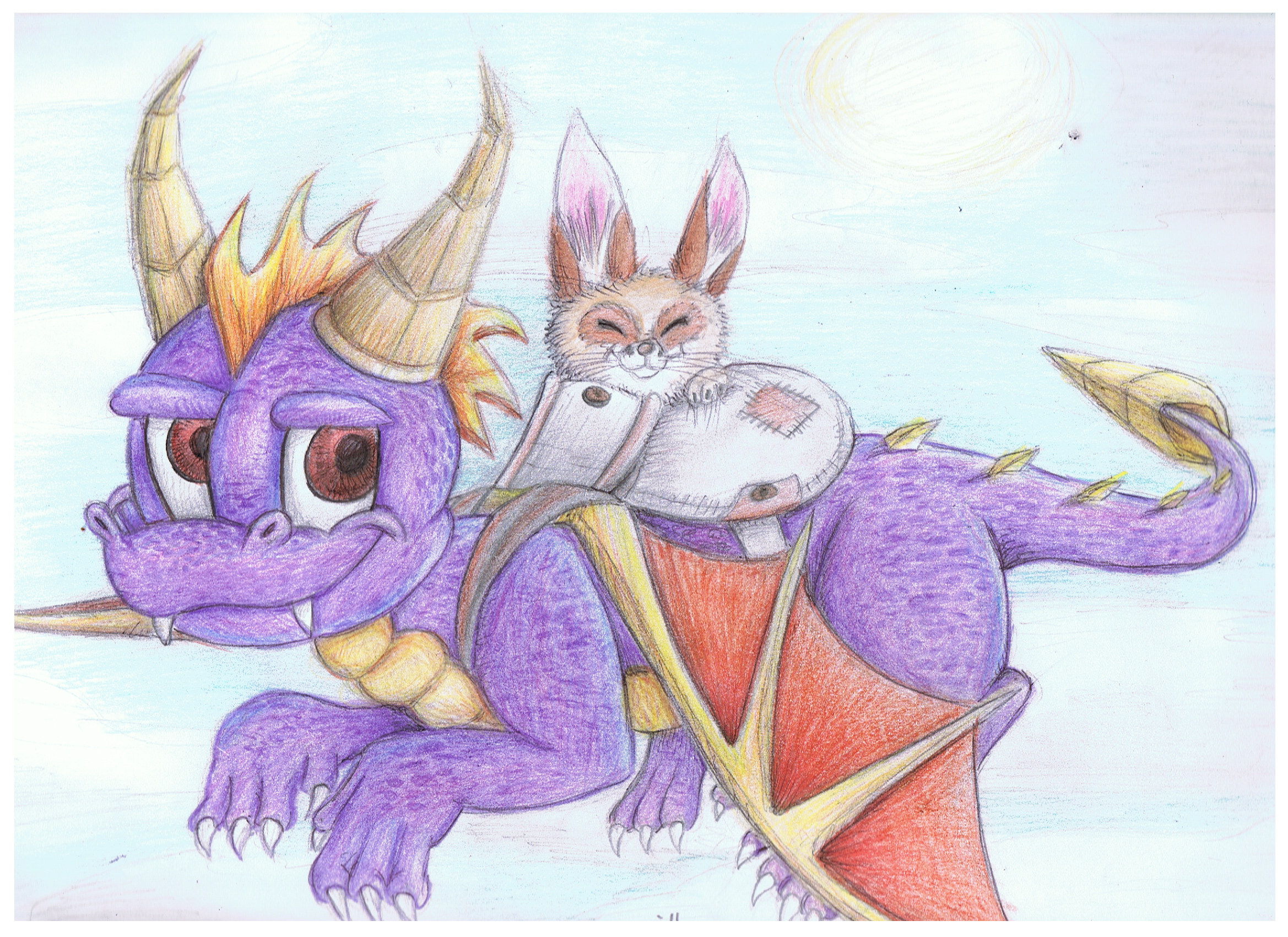 Spyro and Hachi doodle by ConkerTSquirrel
