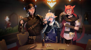 FFXIV Illustration - A Drink With The Boys!