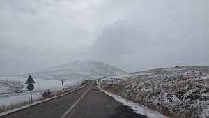 on the snowy road