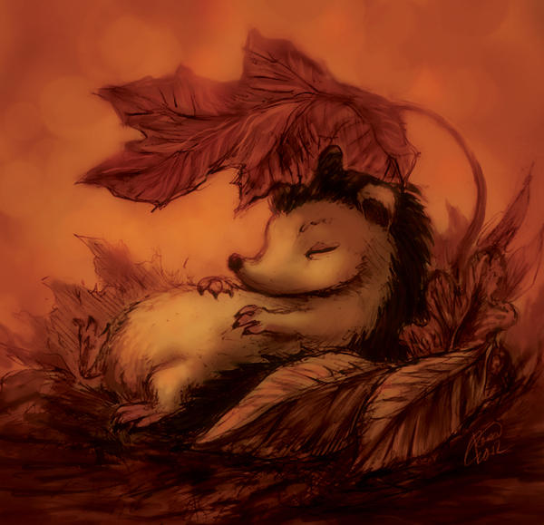 Hedgehog Sleeping Under Leaves by Kaytara