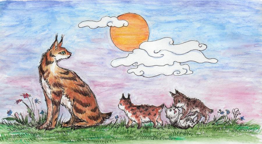 Lynx and Cubs by Kaytara