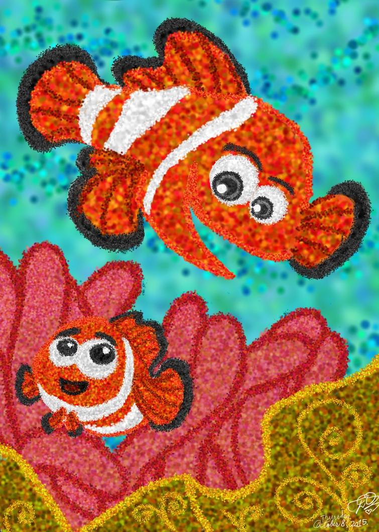 Nemo and Marlin coloring page by E-Ocasio