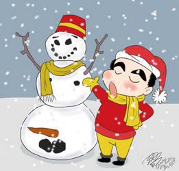 Crayon Shinchan Shinosuke's snowman by E-Ocasio