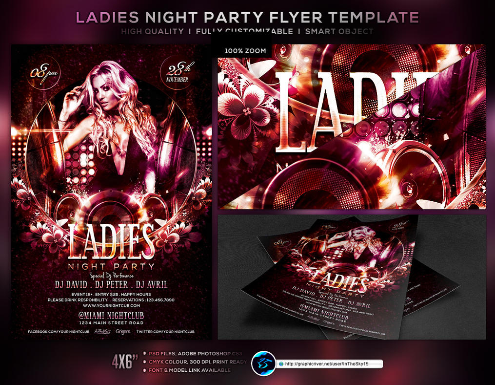 Ladies Night Party Flyer Template by ranvx54