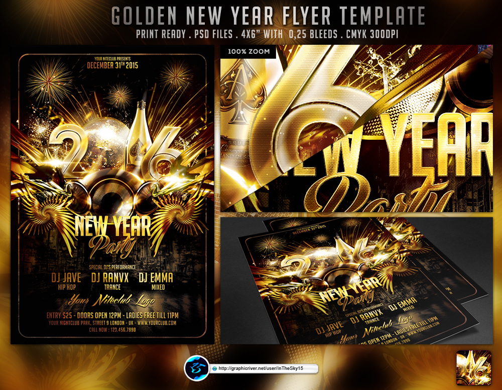 Golden New Year Flyer Template By Ranvx On Deviantart