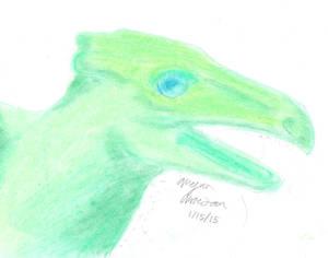Green dragon in pastel