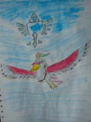 Link and his Crimson Loftwing - Skyward Sword