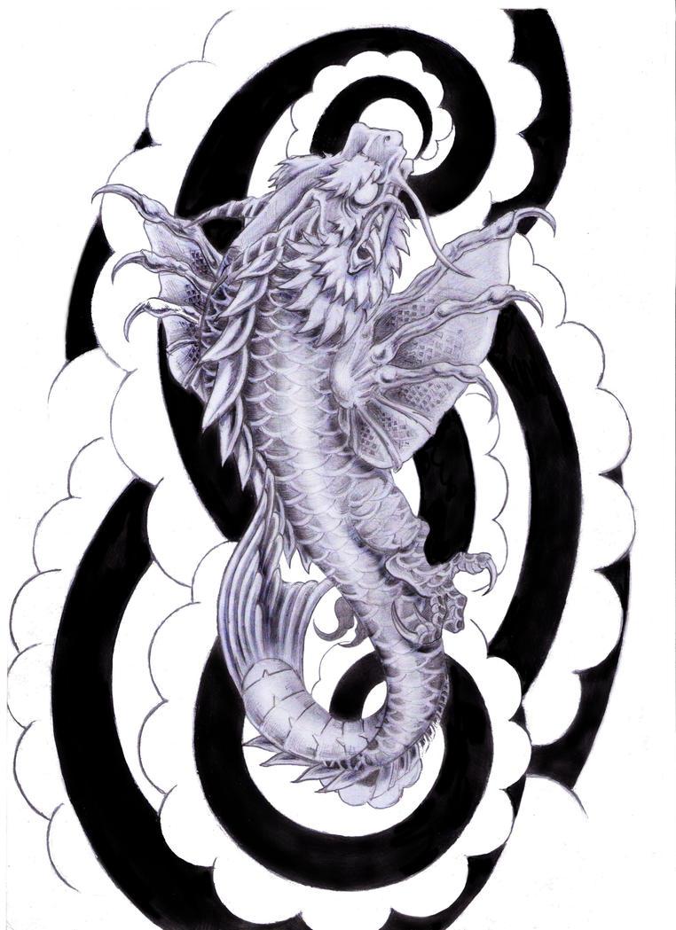 Koi dragon tattoo design by tylerrthemesmer on deviantart for Black dragon koi