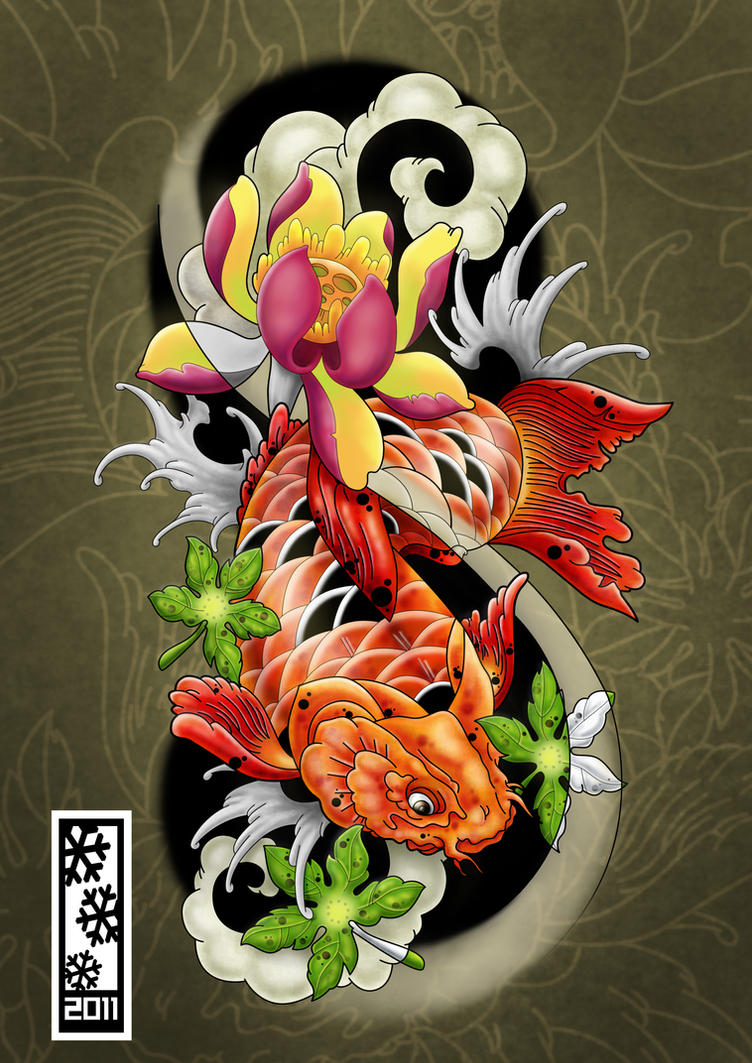 Koi tattoo flash by tylerrthemesmer on deviantart for Koi fish artwork