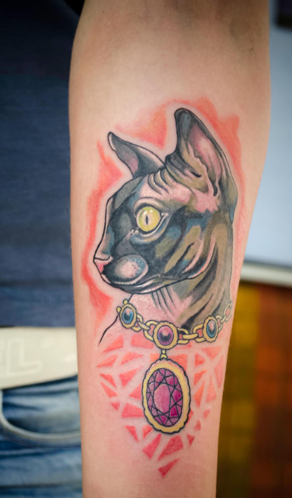 Sphynx cat tattoo by tylerrthemesmer on deviantart for Hairless cat tattoo