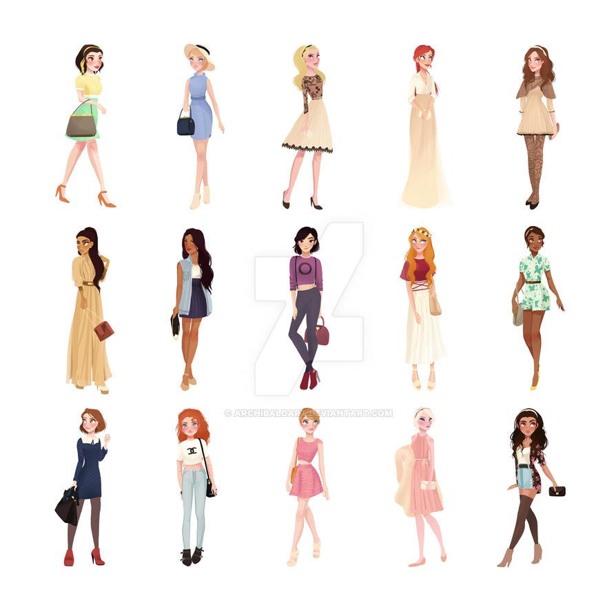 Trendy Princesses by archibaldart