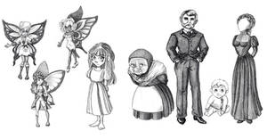 Bluebell Characters (black and white) by Meajy