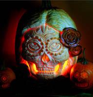 Sugar Skull with Beet Roses by snerk