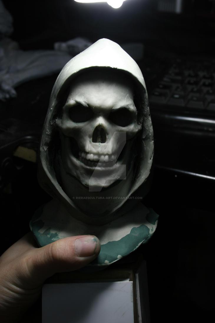 Busto en proceso de  skeletor escala 1/2 by rieraescultura-art