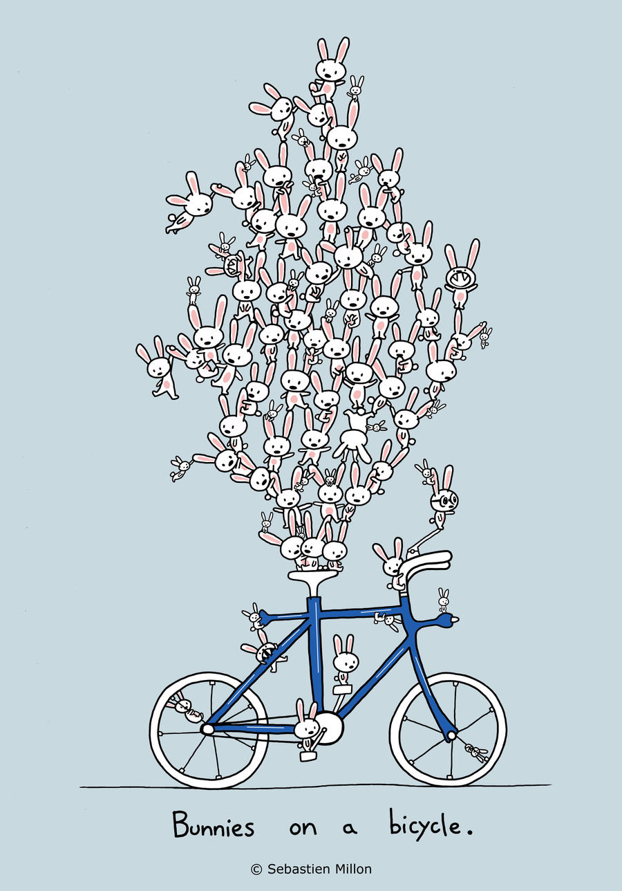 Bunnies on a bicycle by sebreg