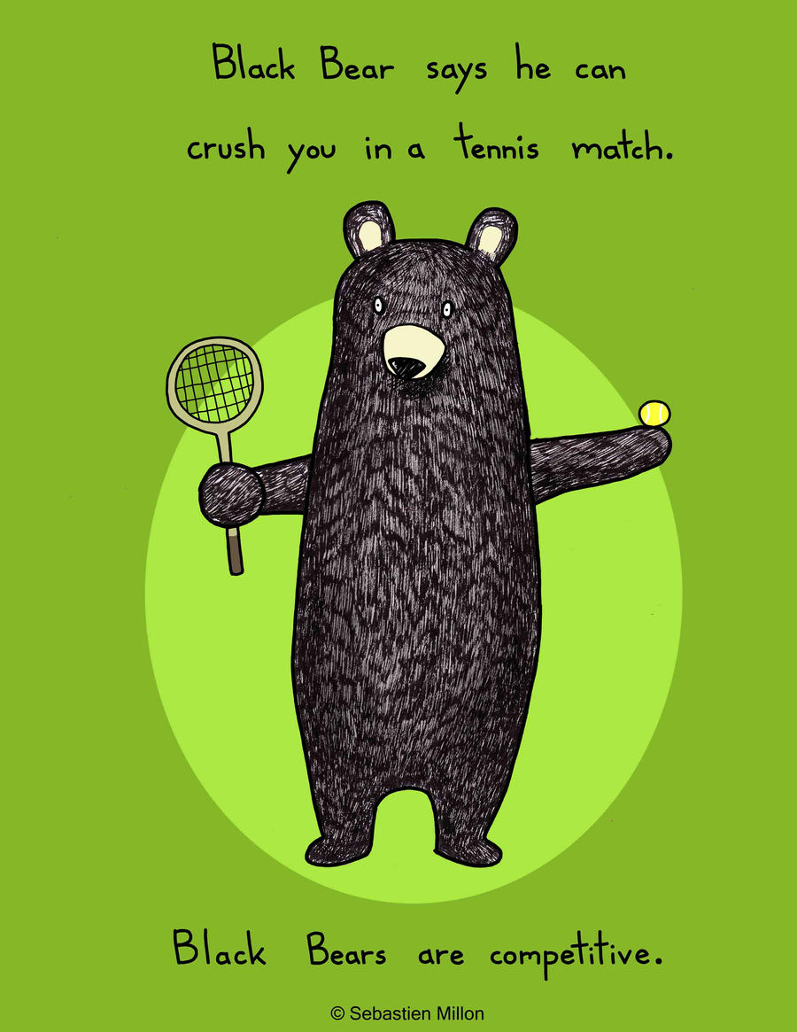 Black Bear Loves Tennis by sebreg