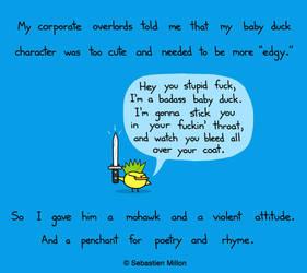 Baby Duck Gets a Mohawk by sebreg