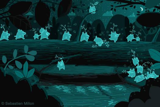 Little Spirit Forest Bears Cross the Fallen Tree