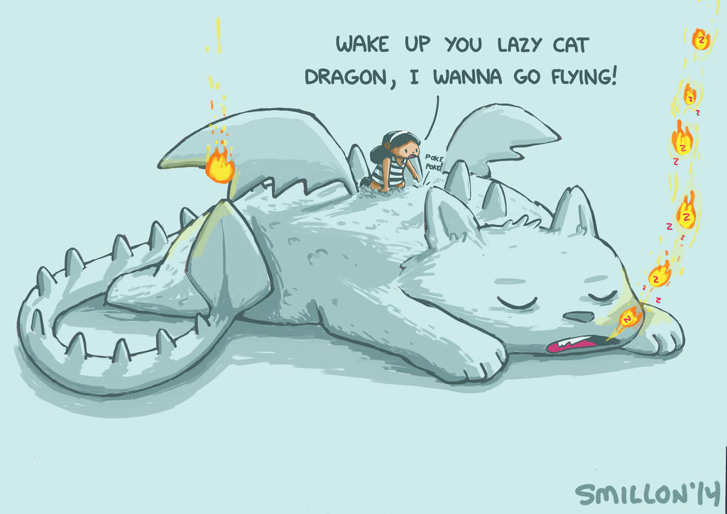 Lazy Cat Dragon by sebreg