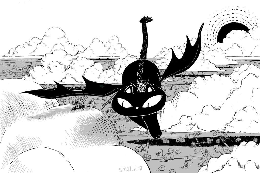 Cat Dragon Flying