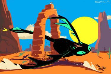Cat Dragon Desert Scene by sebreg