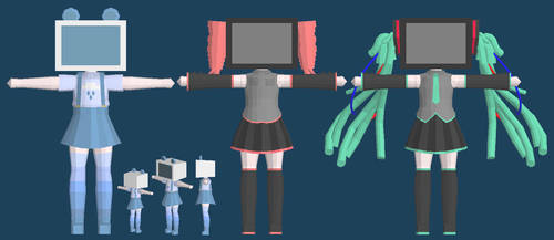 LowPoly modelling - TV Heads