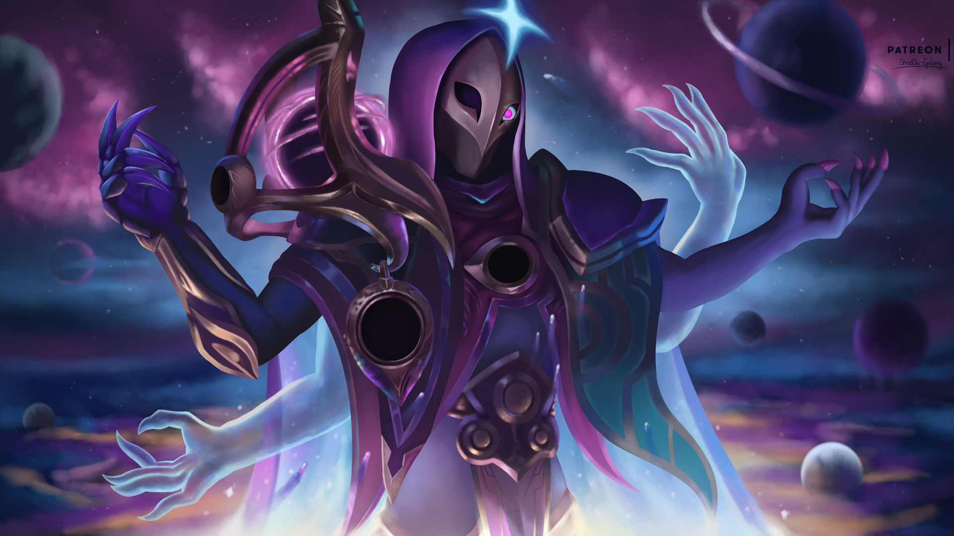 Dark Cosmic Jhin [LoL Wallpaper] by