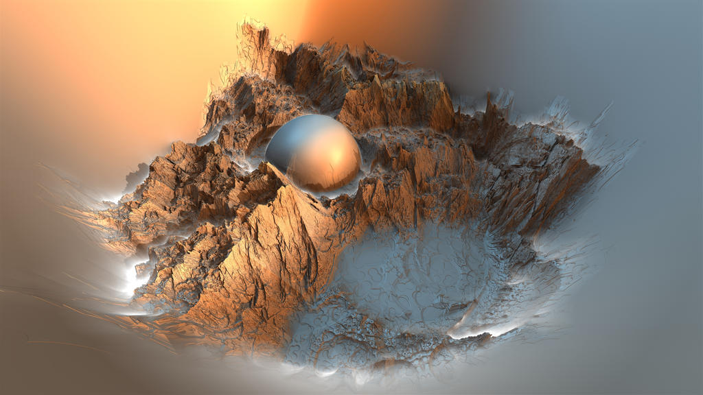 Mountains Inside A Sphere by HalTenny