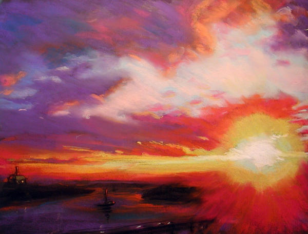 Scarlet Sunset Original Pastel Drawing by Ethan |Pastel Drawings Of Sunsets
