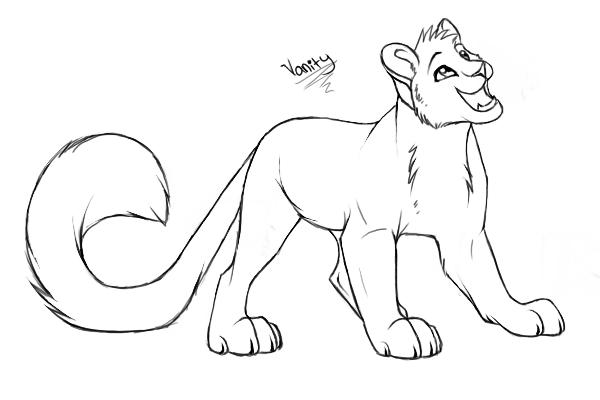 Leopard cub lineart
