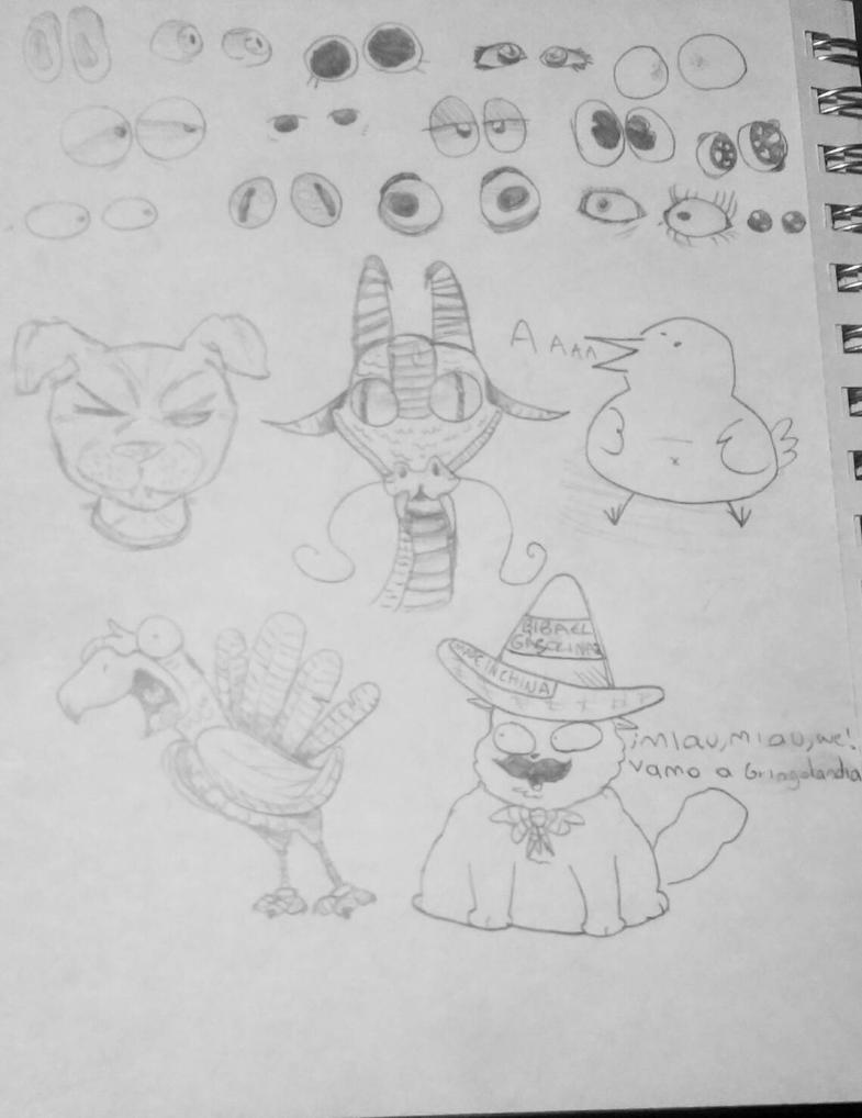 some doodles i think? by Acrazyfriend