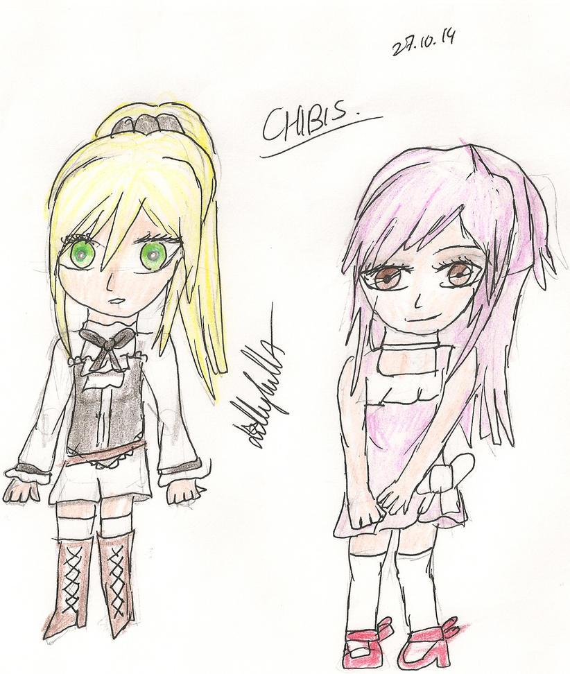 OCs [Julietta and Saika] ~ Chibis by Lillylulla