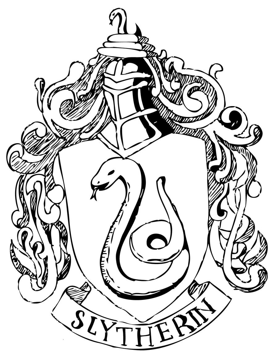 Slytherin Crest Drawing Sketch Coloring Page