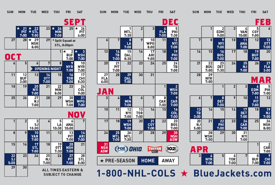 2015-2016 Columbus Blue Jackets Schedule by ...
