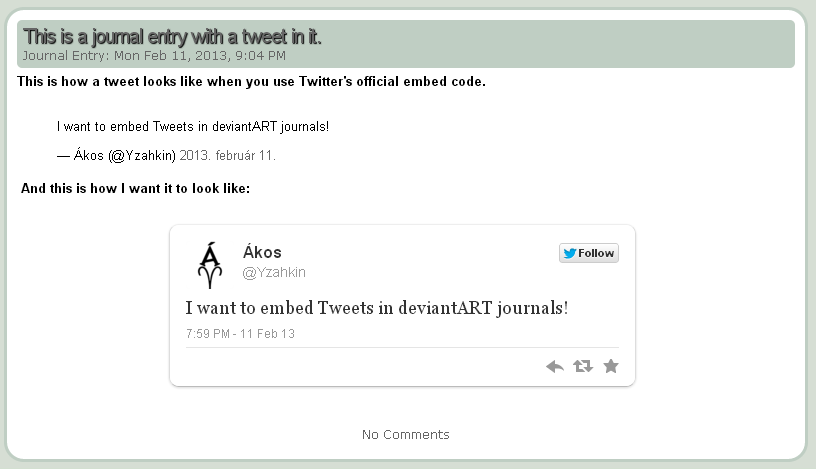 Embed tweet in Journal by NAkos