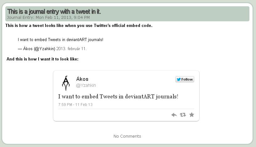 Embed tweet in Journal