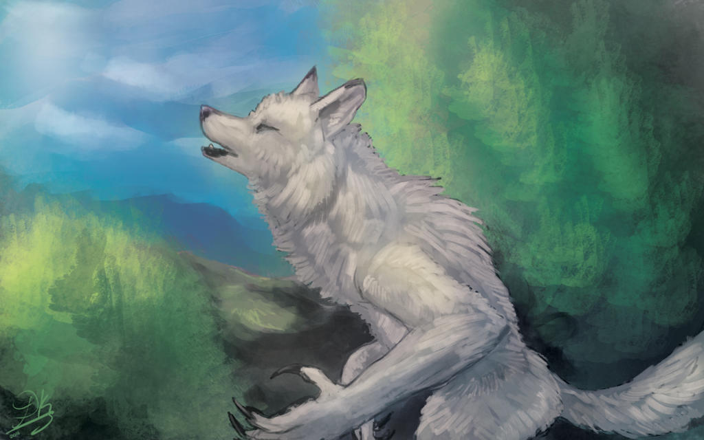 Speedpainting: Howling by Dkaz