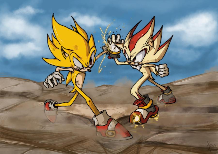 Super Sonic Vs Shadow By SHADOWPRIME