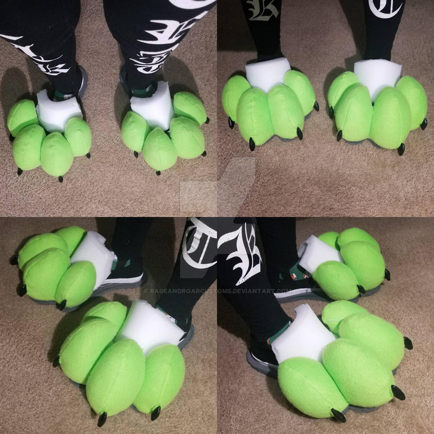 Feetpaws Commission WIP: Lime Green and Brown Feet by RageandRoarCustoms