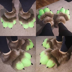 Feetpaws Commission: Lime Green and Brown Feetpaws by RageandRoarCustoms