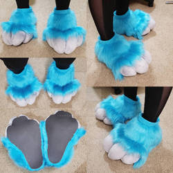 Premade (For Sale): Silver and Turquoise Feetpaws