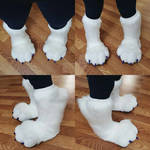 Knee-High Feetpaws Commission: Purple and White by RageandRoarCustoms